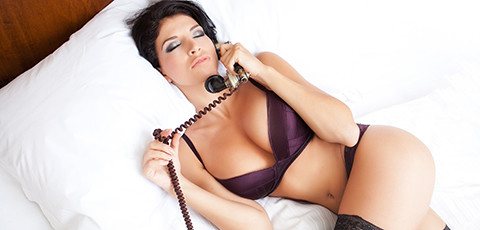 Hot brunette on phone