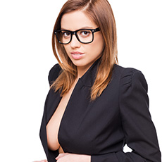 Hot secretary wearing glasses