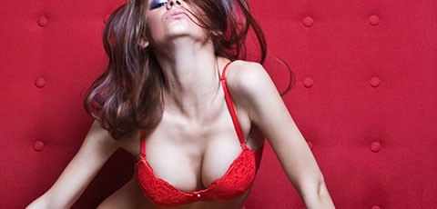 Hot brunette in red bra
