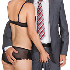 Guy in suit, girl in underwear