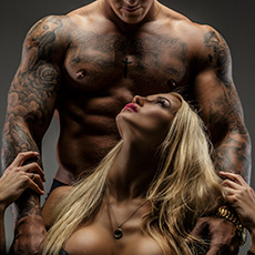 Bodybuilder and blonde